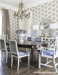 I like the silver embossed wallpaper with blue seat cushions. #Melissa Haynes