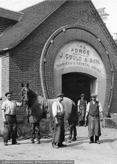 Merrow, Workmen, The Forge 1913. From The Francis Frith Collection, a privately-owned archive of over 130,000 photographs of Britain from 1860-1970 that you can browse online for free anytime! #francisfrith #photography #nostalgia #blackandwhitepeoplephotos Vintage Photographs, Vintage Images, Nostalgic Pictures, Black And White People, Black And White Aesthetic, Working People, Edwardian Era, Black And White Photography, Old Town