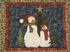 Snowman Buddies Table Runner and Placemats di quiltdoodledesigns