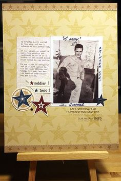Military Hero Scrapbook Page by Heather Nichols for Papertrey Ink (June 2012)