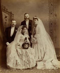 Full length wedding portrait of Josephine Maud Spencer and Doctor Alexander McTaggart, with the best man and the bridesmaid, London, Ontario 1884 Vintage Wedding Photography, Vintage Wedding Photos, Vintage Bridal, Vintage Weddings, Vintage Hats, Wedding Attire, Wedding Bride, Wedding Events, Wedding Gowns