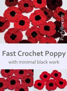 Crochet For Beginners Fast Crochet Poppy Pattern Crochet Puff Flower, Crochet Flower Patterns, Crochet Flowers, Knitting Patterns, Beginner Crochet Tutorial, Beginner Crochet Projects, Crochet For Beginners, Beginner Art, Crochet Tutorials