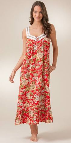 Aria Sleepwear Cotton | La Cera Red Cotton Nightgowns - Cotton Sleeveless with Beige Floral ...