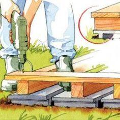 Monter une terrasse en bois sur un sol meuble Pergola Swing, Pergola Patio, Pergola Ideas, Planter Beds, Pergola Attached To House, Calming Colors, Wedding Cards, Wood Projects, The Outsiders