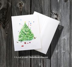 Christmas Tree Card Christmas Cards Holiday by SuisaiGenki on Etsy, $18.00