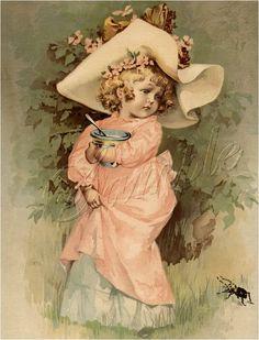 """""""Little Miss Muffet"""" -- by Maud Humphrey (American, 1868 – Vintage Abbildungen, Vintage Ephemera, Vintage Cards, Vintage Prints, Vintage Pictures, Vintage Images, Victorian Art, Children Images, Vintage Children"""