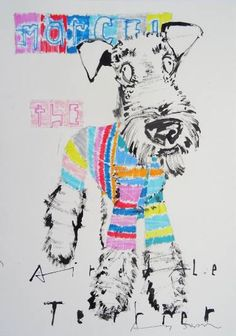 """Saatchi Art Artist Andy Shaw; Drawing, """"Marcel the Airedale Terrier Dog"""" #art"""