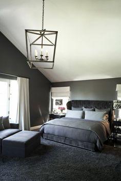 Wohnideen Schlafzimmer Graue Wand Heller Boden Wanddeko Rote Akzente