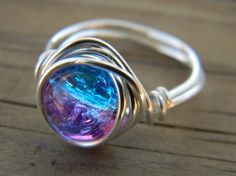 I Want This!! Silver Plated Wire Wrapped Cracked Ice Pink And Blue Ring. $6.99, Via Etsy.