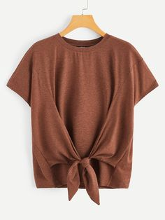 To find out about the Knot Front Heather Knit Top at SHEIN, part of our latest T-Shirts ready to shop online today! Shirts & Tops, Summer Outfits, Cute Outfits, Latest T Shirt, Young Models, Neck Pattern, Fashion News, Fashion Fashion, Vintage Fashion