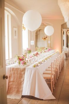 Ideas For Wedding Decorations Table Settings Bridal Musings Baby Shower Table Decorations, Bridal Shower Tables, Wedding Decorations, Elegant Bridal Shower, Balloon Decorations, White Bridal Shower, Quinceanera Decorations, Floral Decorations, Bridal Musings
