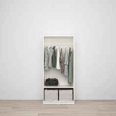 KLEPPSTAD Wardrobe with 2 doors, white. When all you need is a wardrobe with all the basic functions. If storage space is still not enough, why not add another wardrobe from the KLEPPSTAD series? Storage Shelves, Storage Spaces, Shelving, Clothes Rail, Condo Living, Ikea Furniture, Spare Room, Wardrobe Rack, White Wardrobe