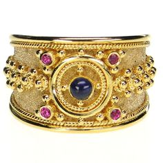 Damaskos Granulation Path Band Ring, 18k Gold, Rubies and a choice of Sapphires . This and more handmade Greek jewelry at Athena's Treasures: www.athenas-treasures.com