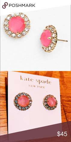 Kate Spade Secret Garden Mixed Gem Pink Studs NWT These sparkly stud earrings make an elegant addition to your jewel box with their lustrous gold setting and sparkling foil-backed stones. Wear them with a silky blouse and pencil skirt for a look that can go from office to fete in a flash. Shiny 12 karat gold plated metal with epoxy stone and glass stone, shiny 14 karat gold filled posts. Also selling in green and white! kate spade Jewelry Earrings