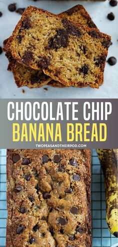 Healthy Chocolate Chip Banana Bread that is deliciously sweet and easy to make! This super moist banana bread is best for a summer breakfast or snack. It will be your new favorite banana bread loaded with chocolate chips. Save this recipe for later! Chocolate Chip Banana Bread, Chocolate Chip Recipes, Healthy Chocolate, Banana Bread Recipes, Chocolate Chips, Super Moist Banana Bread, Easy Banana Bread, Easy Bread Recipes, Sweet Recipes