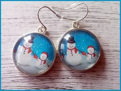 Christmas Earrings Christmas Jewelry Snowman Earrings Snowman Jewelry Holiday Jewelry Silver Jewelry Holiday earrings