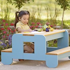 Child-size picnic table on patio