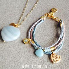 Gemstones & Goldplated, amazonite & jade. Bohochic jewelry