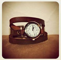 Dark Brown Leather Wrap Watch. via Etsy.