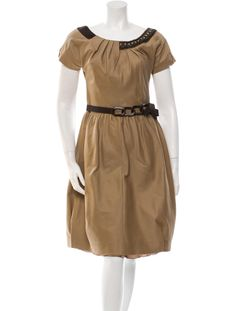 Camel Alberta Ferretti twill dress with short sleeves, scoop neck, embellishments at neckline, coordinating belt at waist and concealed zip closure at side.