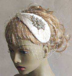 Ivory bridal retro cocktail hat - rhinestone wedding hat - vintage style bandeau veiled bridal fascinator