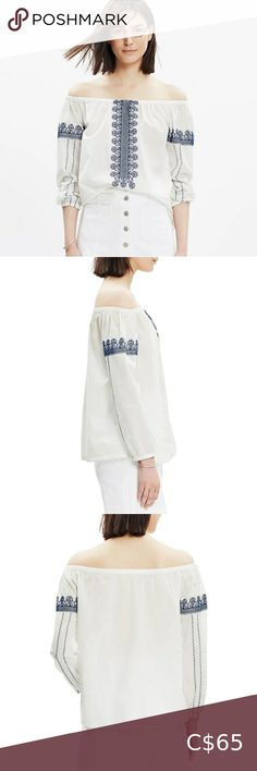 Madewell Folktale Off Shoulder Embroidered Blouse Madewell's embroidered 'Folktale' top is made from soft white cotton-poplin. -elasticized neckline with drawcord -elasticized cuffs -pullover styling -relaxed fit -100% cotton In excellent pre-owned condition; no tears, stains or holes. Madewell Tops Blouses