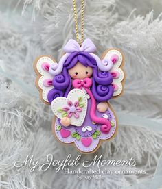 *POLYMER CLAY~Handcrafted Polymer Clay Angel Ornament by MyJoyfulMoments on Etsy