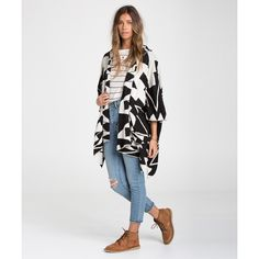 Billabong Women's Enchanted Ways Poncho featuring polyvore, fashion, clothing, outerwear, sweaters, open front poncho, billabong and hooded poncho