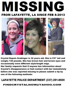Missing Persons of America: Crystal Grebinger: Missing from Lafayette