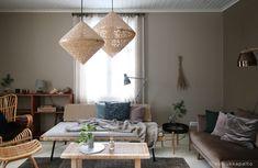 Samettinen sohva ja olohuoneen muodonmuutos