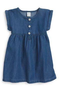 Tucker + Tate Chambray Dress (Baby Girls) available at Kids Dress Wear, Girls Dress Up, Frocks For Girls, Little Girl Dresses, Baby Girl Fashion, Toddler Fashion, Toddler Dress, Baby Dress, Moda Kids