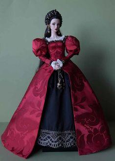 Barbie Gowns, Barbie Dress, Barbie Clothes, Barbie Princess, Princess Style, Fashion Dolls, Fashion Dresses, Tudor Costumes, Tudor Fashion