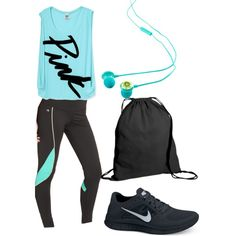 A fashion look from March 2013 featuring Victoria's Secret PINK tops, Ideology activewear pants and NIKE athletic shoes. Browse and shop related looks.