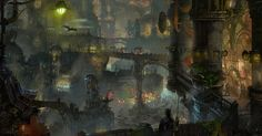 Zaun is a large, undercity district, lying in the deep canyons and valleys threading Piltover. What light reaches below is filtered through fumes leaking from the tangles of corroded pipework and reflected from the stained glass of its industrial architecture. Zaun and Piltover were once united, but are now separate, yet symbiotic societies.