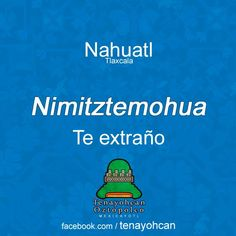 Te extraño en Náhuatl New Words, Love Words, Beautiful Words, Daily Quotes, Love Quotes, Art Chicano, Aztec Culture, Mexican Art, Health Promotion