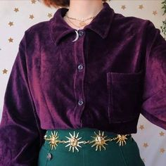 Fashion Fashion outfits Aesthetic clothes fashion Fashion inspo Vintage outfits - Dreamy dreamy vintage deep warm purple corduroy shirt in a Depop - Source by nuslucjan Ideas vintage # Looks Style, Looks Cool, My Style, Retro Style, Vintage Style, Lila Outfits, Pretty Outfits, Work Outfits, Mode Grunge Hipster