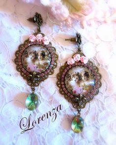 """Boucles romantiques rose pastel """"Les chérubins """" : Boucles d'oreille par lorenza"""