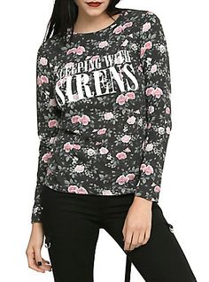 Sleeping With Sirens Floral Girls Long-Sleeved Top, BLACK