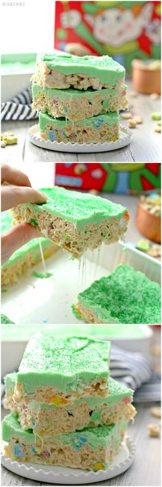 Iced Lucky Charms treats, perfect for St. Patrick's Day! Fun desserts topped with a green almond bark icing. Delicious and easy, made in minutes! | The Cookie Rookie