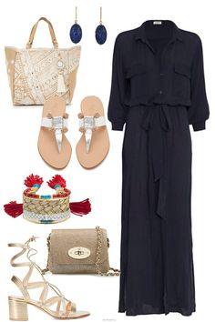 Vacation Style - Day to Night — A Note on Style Braid Cuffs, Aurelie Bidermann, Mulberry Bag, Metallic Sandals, Vacation Style, Brown Belt, Summer Bags, White Beads, Simple Dresses