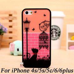 Fantasia Gato Bonito Birdcage Bumper Case Capa Capa para o iphone 5c 5S 4S 5 s 4 6 plus 4.7 Casca Dura Do Telefone para galaxy s4 s5 nota 2 3 4