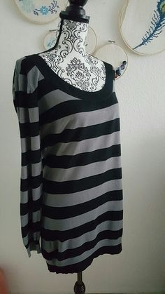 Longwear longshirt gestreift schwarz grau langarm uboot Oberteil Kleid