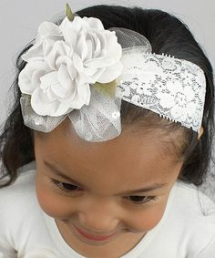 Loving this Truffles Ruffles White Floral Lace Headband on #zulily! #zulilyfinds