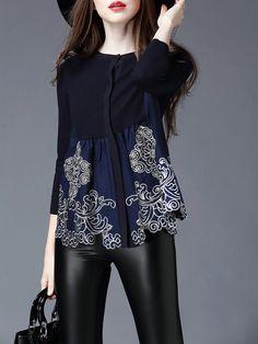 Deep Blue Paneled Knitting Long Sleeved top