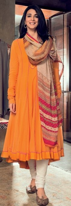 Tina tahiliani , a designer. I love her simple looks like the one in picture. ||Pinterest:@Littlehub ||╰☆คdamant love on Anarkali's ✿。。ღ╰☆╮||