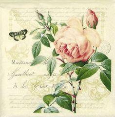 """4x único almuerzo Partido papel Servilletas Para Decoupage Artesanales Vintage """"Rosa Botánico"""""""