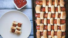 Pretzel Woven Hot Dogs: Wow, our kids would love this.