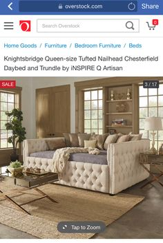 Knightsbridge Queen Size Tufted Nailhead Chesterfield Daybed And Trundle By Inspire Q House Decor Pinterest