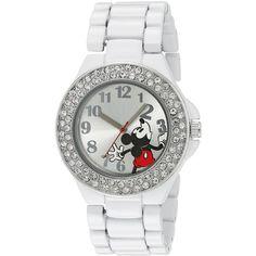 Disney Mickey Mouse Silver Dial White Enamel Bracelet Watch ($22) ❤ liked on Polyvore featuring jewelry, watches, dial watches, disney, white dial watches, mickey mouse watches and disney jewelry