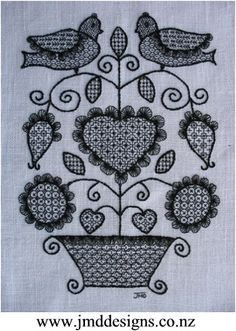 Free Blackwork Tutorial - Blackwork embroidery was first thought to have come from Spain to England; where Catherine of Aragon, the wife of Henry the VIII made the embroidery style most popular for cuffs and collars etc during the Tudor period. This style of design was brought about as a cheaper version of lace around the period of 1509, as taxes on lace were high.
